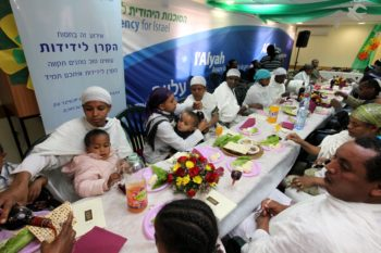 Newly arrived Jewish immigrants from Ethiopia attending a rehearsal for a Passover seder at the absorption center in Mevasseret Zion, April 14, 2011.  (Kobi Gideon / Flash 90)