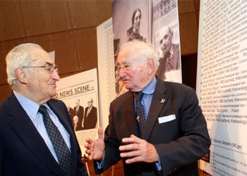 Ernest Michel, left, has accused Mormon leaders of failing to live up to their pledge to stop posthumously baptizing Jewish Holocaust victims. (Diane Bondareff)