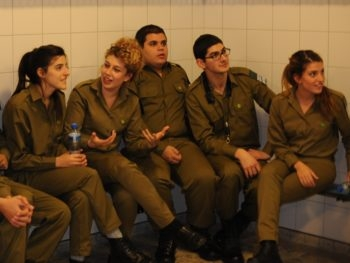 Members of the Israel Defense Forces band in Holland waiting moments before the start of their performance, Nov. 20, 2012.  (Cnaan Liphshiz)