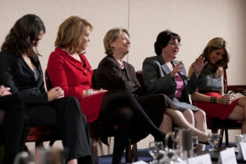 Among the Women to Watch honorees on stage in Washington, from left to right, are Rabbi Sharon Brous, Estee Portnoy, Ellen Stovall, Ruth Marcus and Jillian Copeland, Dec. 7, 2009. (Michael Bennett Kress)