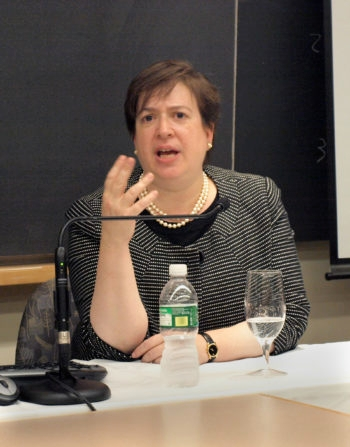 U.S. Solicitor General Elena Kagan, speaking at Harvard Law School, has been tapped by President Obama to replace retiring Supreme Court Justice John Paul Stevens. (Harvard Law Record)
