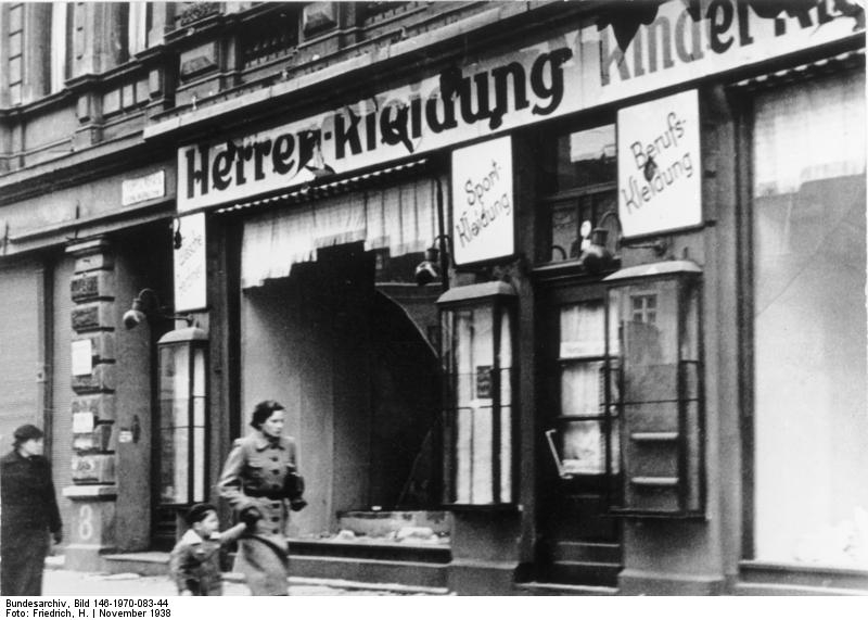 A destroyed Jewish clothing store in Magdeburg, Germany, after Kristallnacht, Nov. 11, 1938.  (H. Frederick, Hanover)