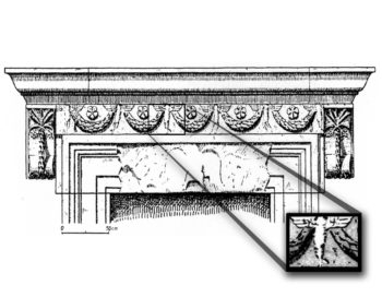 """The lintel above the main entrance to the synagogue at Capernaum in Israel showing six Cupids holding the five looped garlands, from Erwin Goodenough's """"Jewish Symbols of the Greco-Roman Period.""""  (Everett Gendler )"""