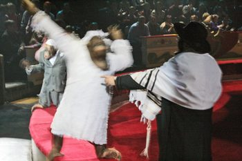 "The bride and groom at a ""Jewish wedding"" at a Moscow circus. (Grant Slater)"