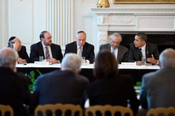 President Obama meeting with the Conference of Presidents of Major American Jewish Organizations in the White House State Dining Room, March 1, 2011.  (Pete Souza / White House)
