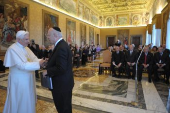 Pope Benedict XVI, shown here meeting with New York Rabbi Arthur Schneier at the Vatican in February 2009, is likely to be compared to his predecessor, John Paul II, during his visit to Israel. (The Appeal of Conscience Foundation)