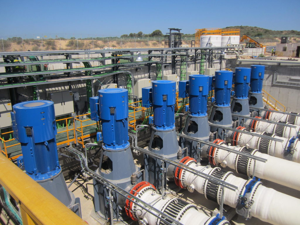 Water from the Mediterranean Sea rushes through pipes en route to being filtered for use across Israel in a process called desalination, which could soon account for 80 percent of the country's potable water. (Ben Sales/JTA)