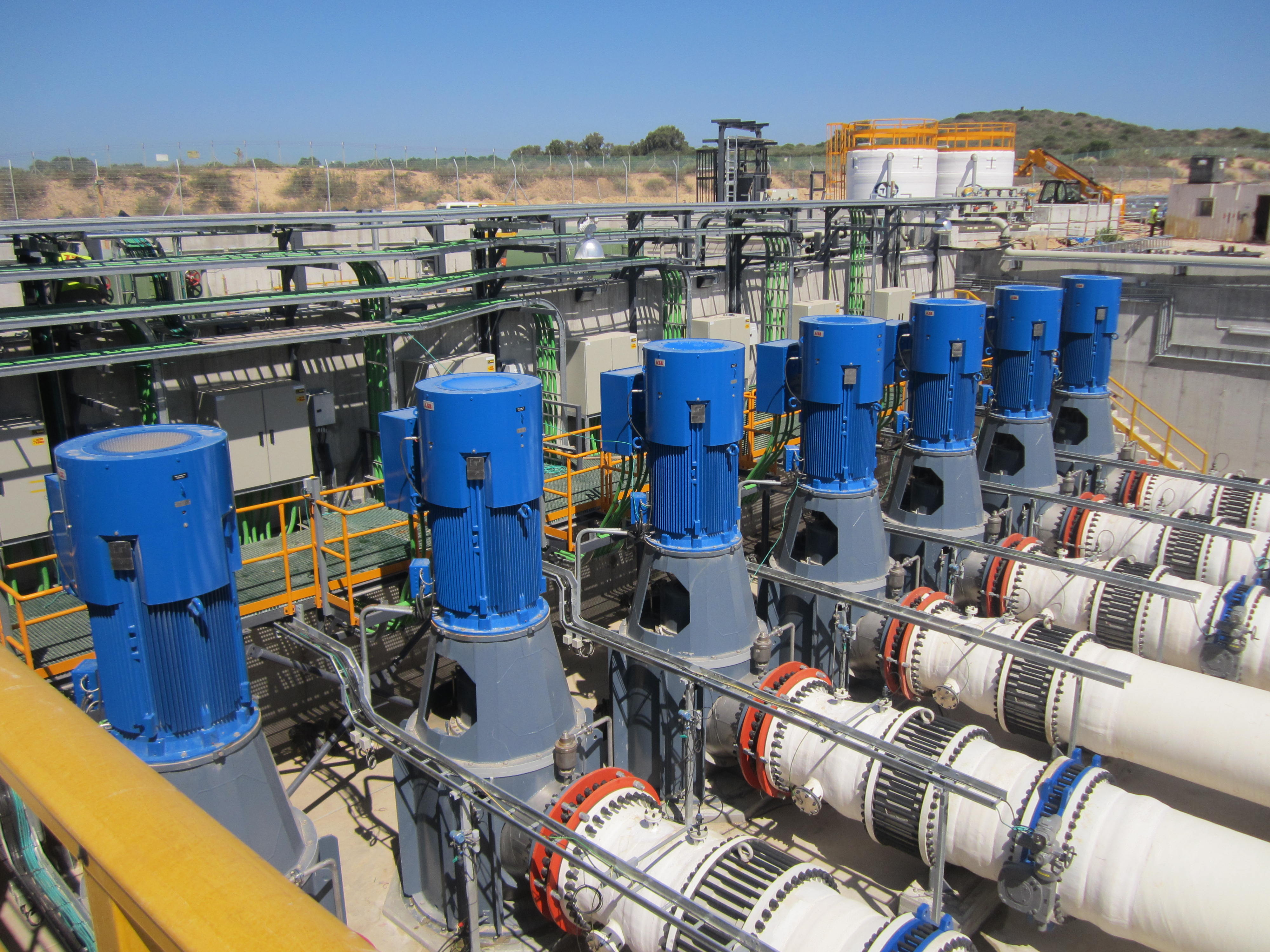 Water from the Mediterranean Sea rushes through pipes en route to being filtered for use across Israel in a process called desalination, which could soon account for 80 percent of the countrys potable water. (Ben Sales/JTA)