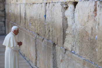 Pope Benedict XVI takes time for reflection at the Western Wall in Jerusalem's Old City on May 12, 2009. (Nati Shohat / Flash90 / JTA)