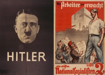 "The U.S. Holocaust Memorial Museum chronicles the role of Nazi propaganda in Germany with its exhibit, ""State of Deception."" Left, a 1932 election poster featuring Adolf Hitler stood out for its simplicity and emotional appeal. Right, in another election poster from the same year, Nazi designers incorporate the number of the Nazi slate, ""1,"" into the party symbol, a swastika. (U.S. Holocaust Memorial Museum)"