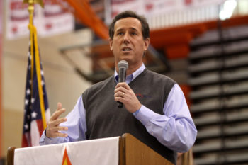 Rick Santorum, shown speaking to Iowa high-school students in West Des Moines on Jan. 3, 2012, is reaching out to pro-Israel donors to boost his campaign following his strong showing in the state's caucuses.  (Gage Skidmore via Creative Commons)