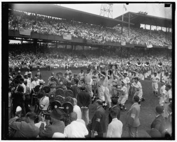Players scramble to catch President Franklin D. Roosevelt's pitch at the All-Star game in Washington D.C., July 7, 1937. (Library of Congress)