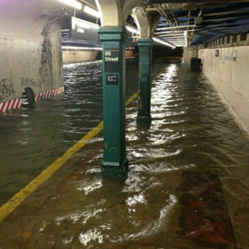 Damage to New York City infrastructure, like this one inside a New York subway station, was extensively documented online as Hurricane Sandy washed ashore.  (@HeyVeronica via Twitter)