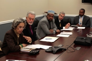 Ruth Messinger, left, joins other Darfur activists at the White House in an October 2009 meeting with Joshua DuBois, head of the White House Office of Faith-Based and Neighborhood Partnerships. (Pete Muller / Save Darfur Coalition / Creative Commons)