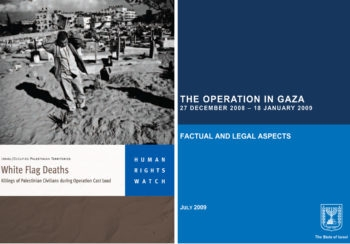 Human rights groups such as Human Rights Watch are engaged in a fierce battle with Israel's government over which version of this year's Gaza Strip war hews closer to the truth.  (Human Rights Watch / Israel Foreign Ministry)