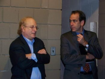 David Twersky, left, and his successor at the New Jersey Jewish News, Andrew Silow-Carroll, co-host a presidential surrogates debate on Nov. 2, 2008, at Temple B'nai Or in Morristown, N.J.  (Courtesy of the New Jersey Jewish News)