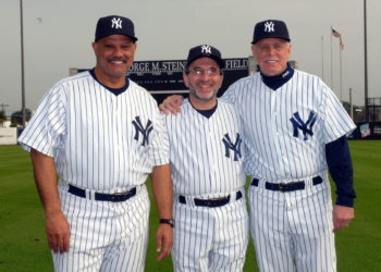 Ira Jaskoll is flanked by former Yankees Chris Chambliss, left, and Ron Blomberg at the team's fantasy camp in January 2009. (Courtesy of Ira L. Jaskoll)