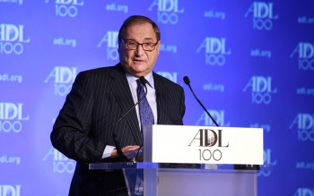 Abraham Foxman, national director of the Anti-Defamation League, speaking at the ADL Centennial Summit in Washington, April 29, 2013. (David Karp)