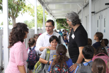 Ben Gamla At the Ben Gamla Hebrew charter school in Hollywood, Fla., the school's lease on the building lapses for two hours each afternoon so a religious Jewish after-school program can take over. During the transition,  mill about while religious teachers set up in the classrooms. (Uriel Heilman)