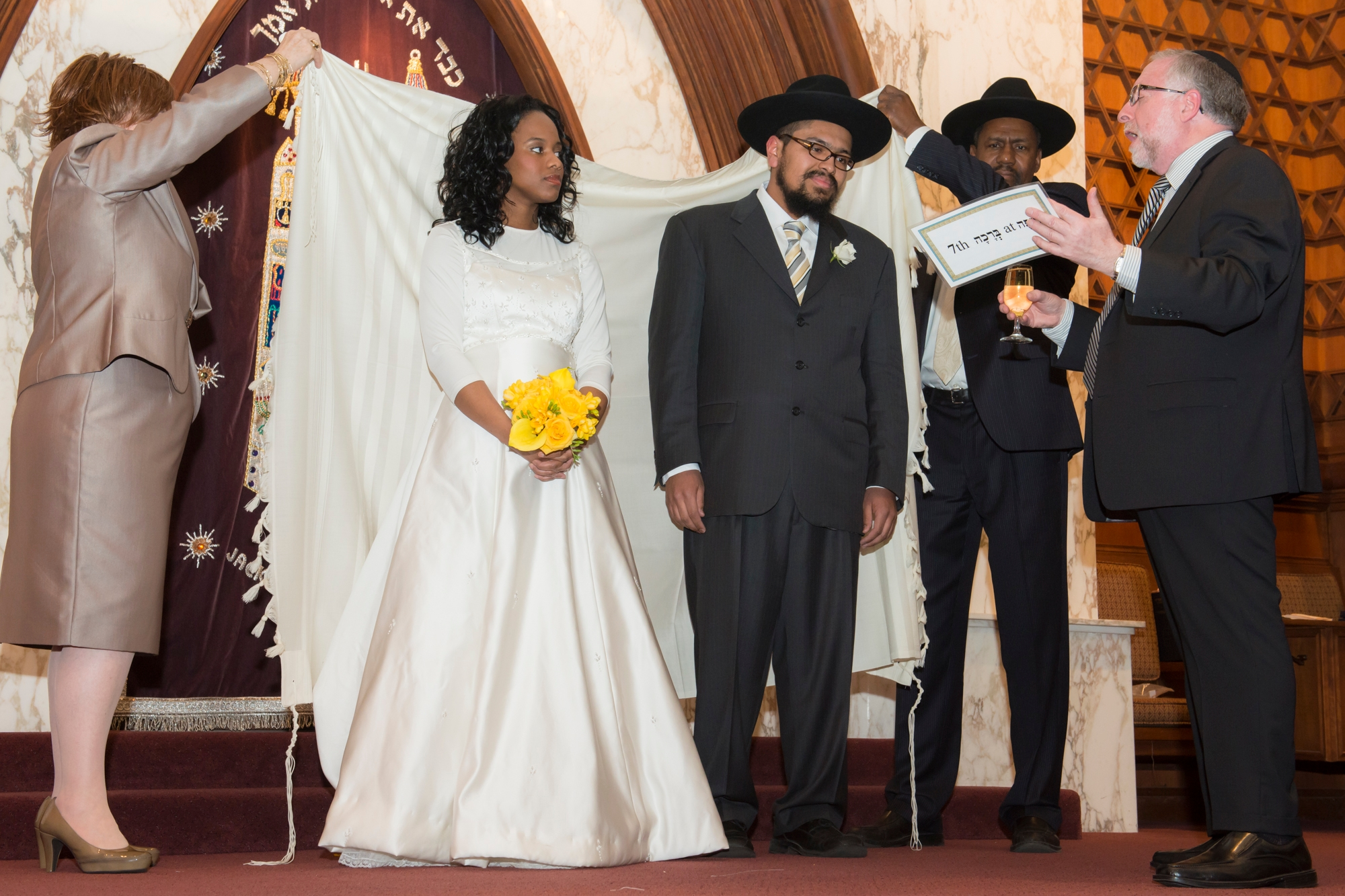 Rabbi Simon Benzaquen Recites The Sheva Brachot At Wedding Of Chana And Yosef Brown In