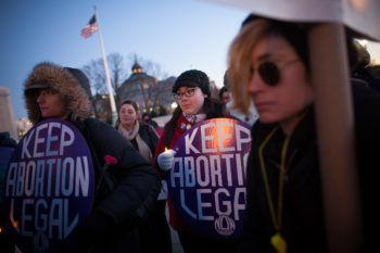 Pro-choice supporters at a candlelight vigil in front of the U.S. Supreme Court in Washington commemorating the 40th anniversary of the Roe v. Wade decision, Jan. 22, 2013. (Photo by Allison Shelley/Getty Images)