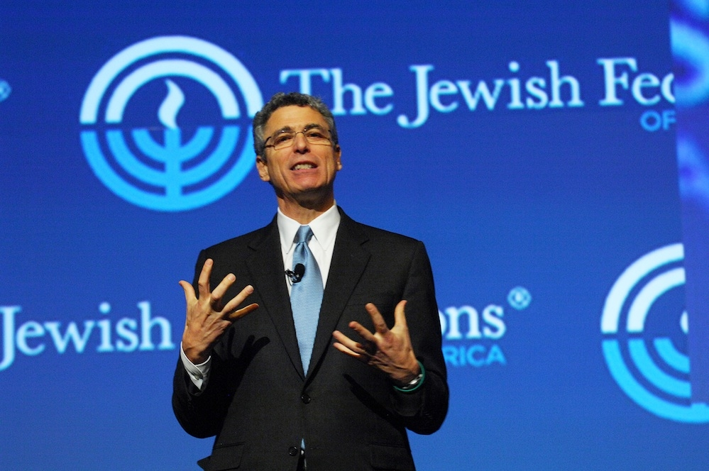 Reform leader Rabbi Rick Jacobs, shown speaking at the Jewish Federations of North America General Assembly in Jerusalem, November 2012. (Robert A. Cumins/JFNA)