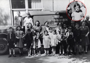 Rose Goteiner believes that her sister, Ruth Konigstein, is shown in the middle of the bottom row of this 1946 photograph taken in Amsterdam. (Courtesy American Jewish Joint Distribution Committee Global Archives)