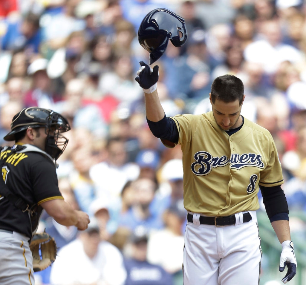 Ryan Braun of the Milwaukee Brewers won't be throwing any more helmets this season following his suspension for violating Major League Baseball's drug policy. His tirade here came after striking out in a game against the Pittsburgh Pirates at Miller Park in Milwaukee, May 26, 2013. (Mike McGinnis/Getty Images)