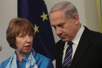 "Israeli Prime Minister Benjamin Netanyahu met on June 20, 2013 in Jerusalem with Catherine Ashton, the EU's foreign policy chief, who said the union's recent decision on Hezbollah was ""partly a political signal.""  (Alex Kolomoisky/FLASH90/JTA)"