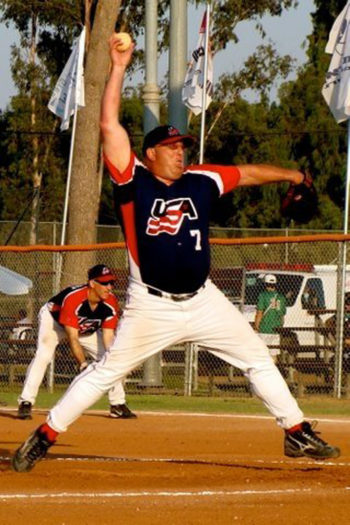Dave Blackburn pitching for the U.S. team against Canada at the 17th Maccabiah Games in Israel, July 2009. (Facebook)