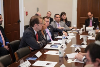 Left to right, Reps. Ed Royce, Ileana Ros-Lehtinen and Pete Roskam at a meeting with Dani Dayan, a leader of Israel's settlers movement, in Washington, June 27, 2013. (House Republican Conference)
