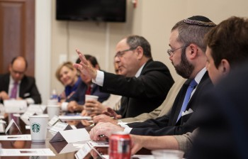 Dani Dayan, a leader of Israel's Yesha settlers council, makes a point at a meeting with Republican congressional leaders in Washington, June 27, 2013. (House Republican Conference)