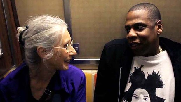 Ellen Grossman sitting next to (and not recognizing) Jay-Z on a New York Subway, December 2012. (YouTube)