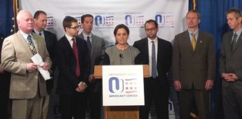 Advocates and legislators holding a news conference in Albany, N.Y., on June 12, 2013 calling for a program offering reduced utility rates to be extended to parochial schools in the state. (Orthodox Union)