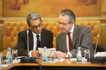 Jose Ribeiro e Castro, right, and Portuguese Culture Minister Jorge Barreto in Lisbon on Feb. 20, 2013. (Portugal's National Assembly)