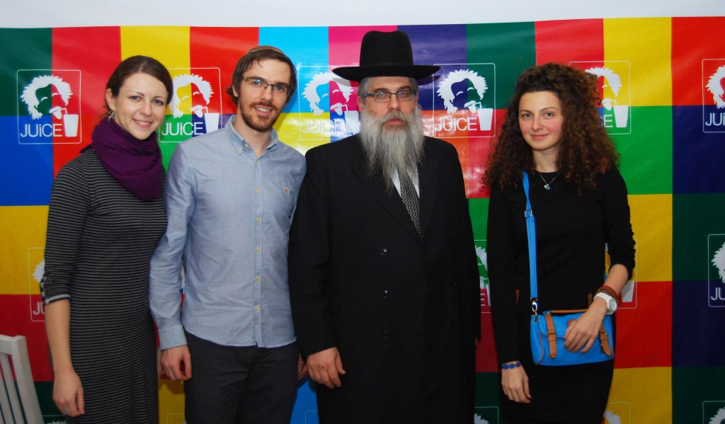 Left to right, Juice co-organizers Inna Yampolskaya and Igor Kozlovskiy, Ukrainian Chief Rabbi Yaakov Rabbi Bleich and the American Jewish Joint Distribution Committee's Lilya Vendrova at a Juice event in Kiev, November 2012. (Courtesy Juice)