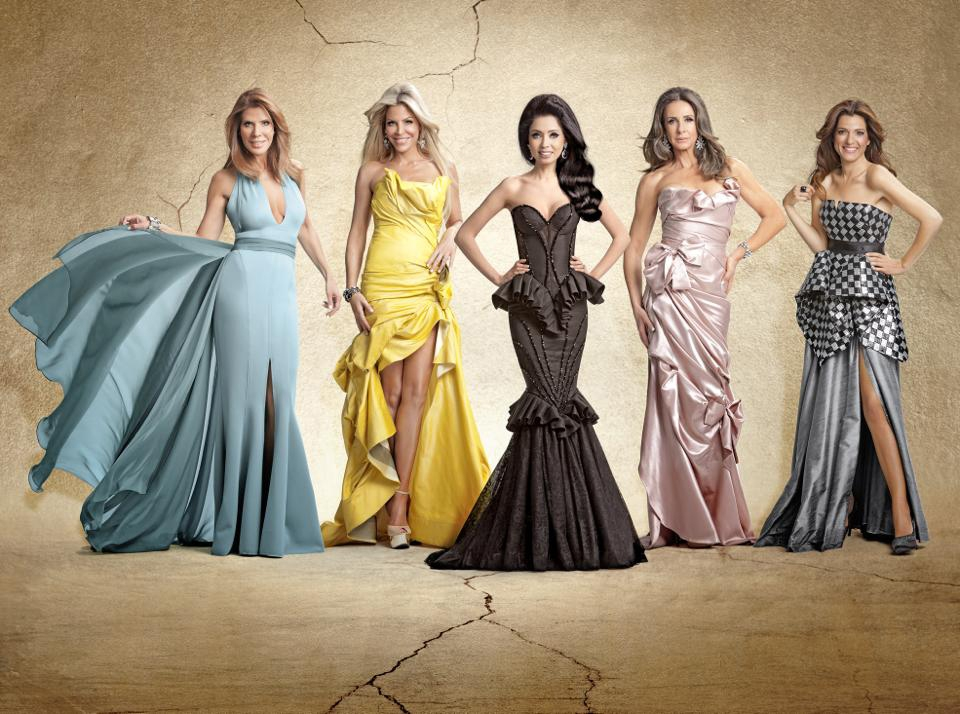 "The five protagonists of ""Meusharot,"" Israel's version of the ""Real Housewives"" franchise, from left to right: Iris Zander, Jennifer Snukal, Nicole Raidman, Leah Shnirer and Yael Gal. (Channel 10)"