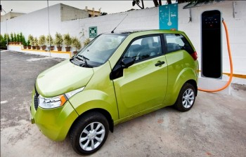 The Mahindra Reva, an electric car from India that can be charged using home outlets, is part of the electric car plan in Israel. (Mahindra Facebook)