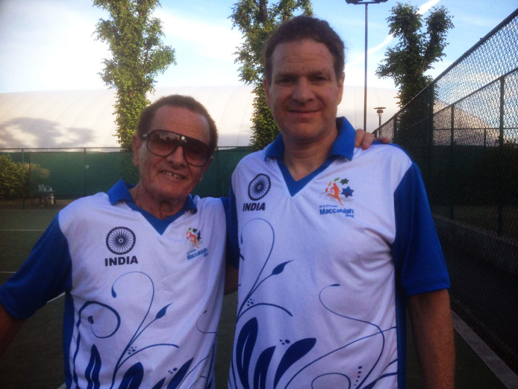 Sam Marshall, competing for India, left, and his son Yosi, competing for England, formed a doubles team at the 19th Maccabiah Games. (Courtesy Sam Marshall)