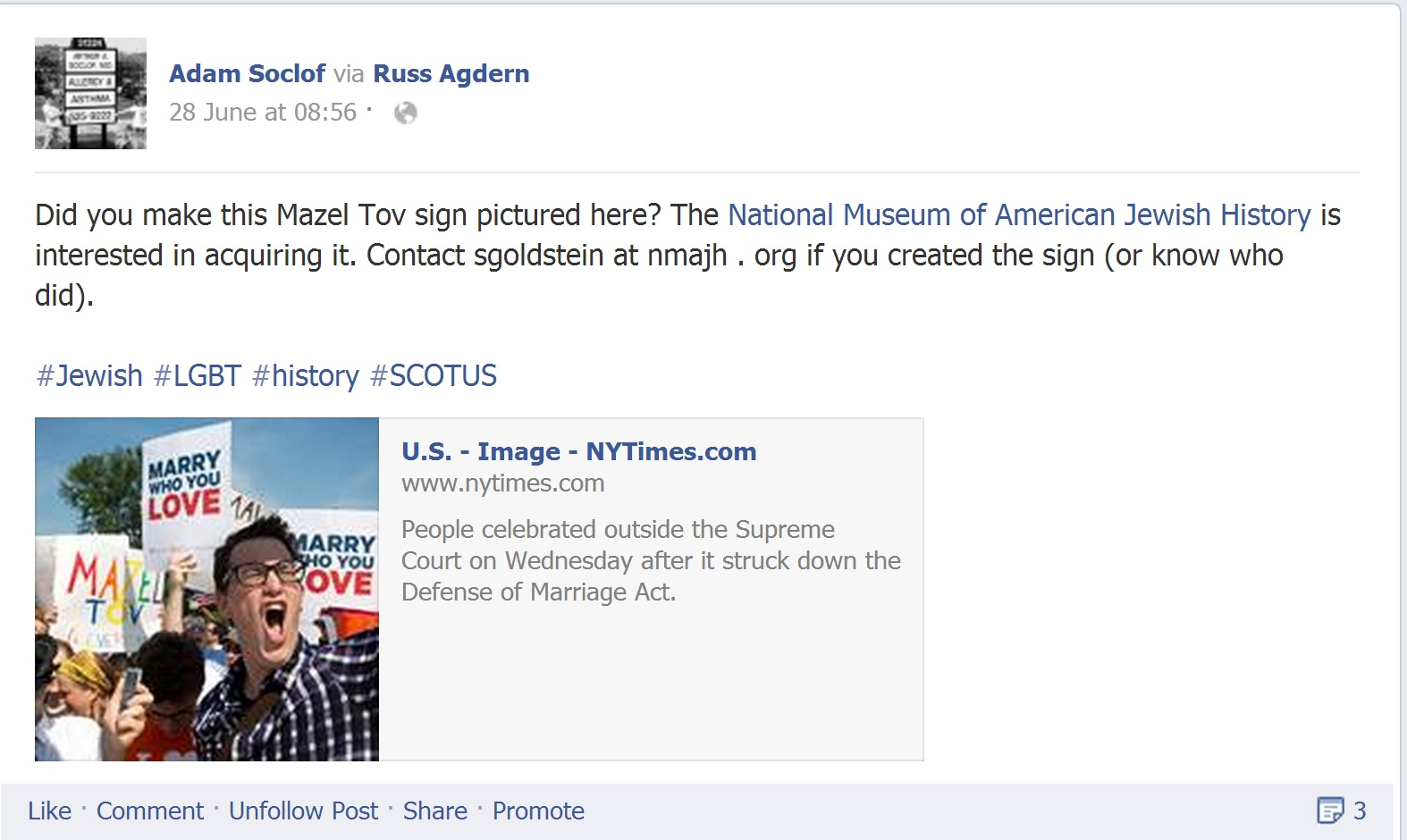 Facebook post searching for gay marriage Mazel Tov sign.