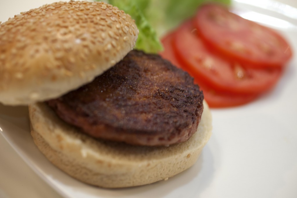 JTA PHOTO: Has the era of the kosher cheeseburger arrived? The world's first lab-grown burger could be parve and thus paired with dairy products. (David Parry / PA Wire)