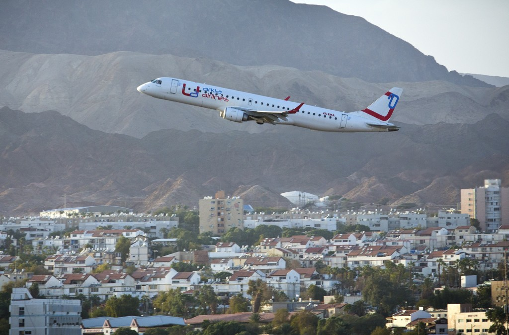 An Arkia Airlines plane taking off from the Eilat Airport. Five days after the airport was shut down due to security threats, the resort city was targeted for a rocket attack from the Sinai Desert. (Moshe Shai/FLASH90)