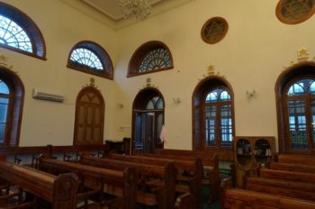 The interior of Krasnaiya Sloboda's Kulkati Synagogue. (Cnaan Liphshiz)