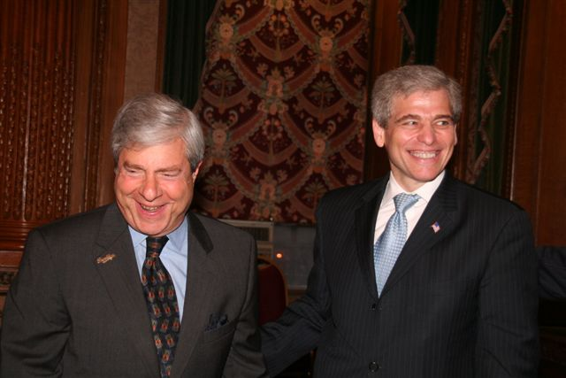 Met Council CEO William Rapfogel, shown with Brooklyn Borough President Marty Markowitz in a June 2012 photo, was fired for alleged financial malfeasance.