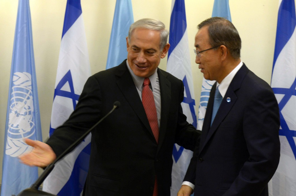 Ban Ki-moon, secretary-general of the United Nations, meeting with Israeli Prime Minister Benjamin Netanyahu in Jerusalem, Aug. 16, 2013. (Amos Ben Gershom/GPO/Flash90)