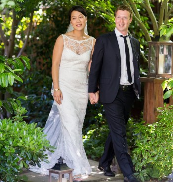 Jewish communal attitudes toward interfaith marriages, like the wedding between Mark Zuckerberg and Priscilla Chan in 2012, have shifted considerably since 1990. (Allyson Magda/Facebook)