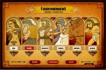 "Pick your Biblical protagonist for a rousing ""Bible Fight"" (Adult Swim Games)"