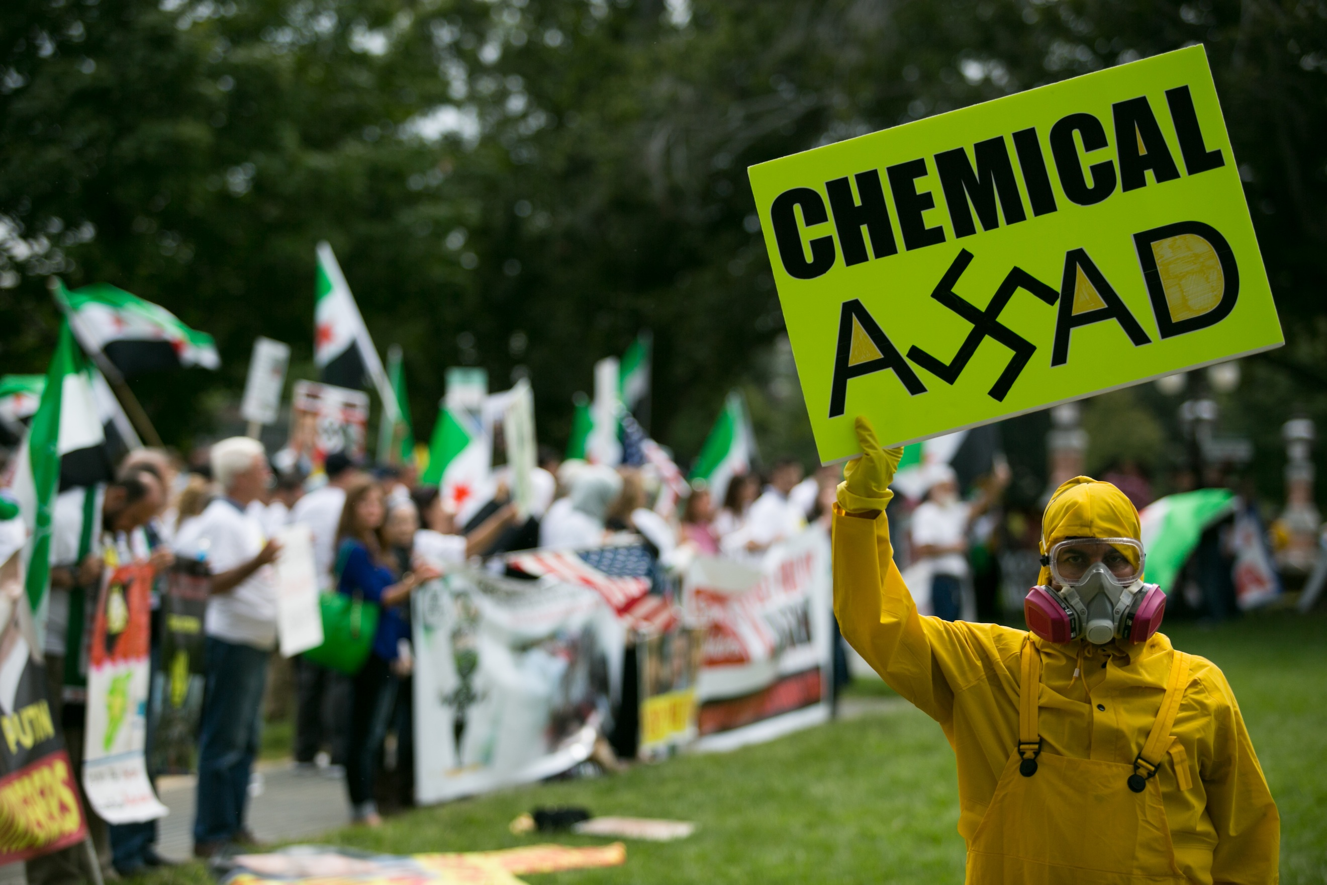 Protestors rally Sept. 9 on Capitol Hill in support of possible U.S. military action in Syria.(Drew Angerer/Getty Images)