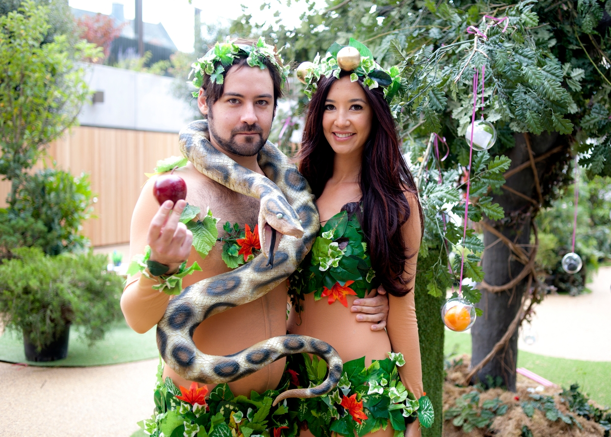 Models portray Adam and Eve at the Genesis-themed opening of London's JW3 Jewish community center on Sept. 29. (Blake Ezra Photography)