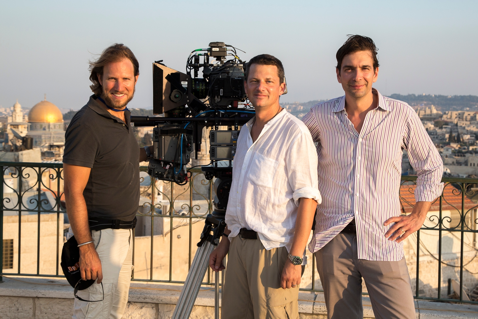 "The Producers of ""Jerusalem"": Daniel Ferguson, left, George Duffield and Taran Davies. (Reed Smoot)"